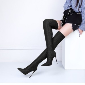 Black Long Boots Pointy Toe Stiletto Heel Thigh-high Boots