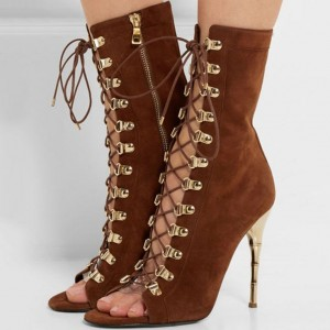 Brown Lace up Boots Stiletto Heel Suede Booties for Women