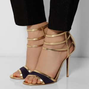 Women's Golden Back Zipper Stiletto Heels Open Toe Sandals