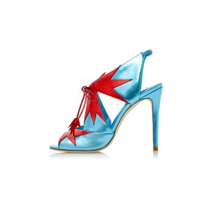 Blue Lace up Sandals Slingback Lace up Heels for Women