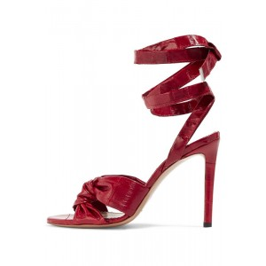 Burgundy Heels Open Toe Strappy Stiletto Heel Sexy Sandals