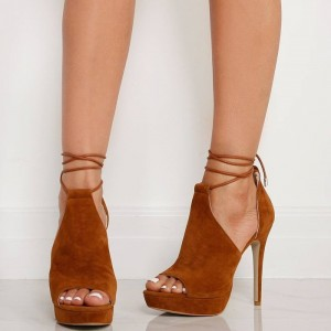 Women's Tan Platform Sandals Strappy Heels Suede Stiletto Heels Shoes
