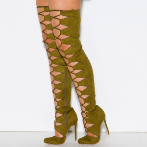 Olive Green Gladiator Boots Suede Thigh High Lace up Boots for Women