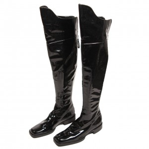 Black Square Toe Boots Cat Woman Patent Leather Over Knee Long Boots