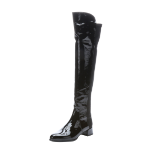 Cat Woman Black Chunky Heel Boots Patent Leather Knee High Boots for Halloween