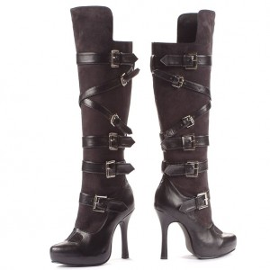 Coffee Colored Cat Woman Buckle Boots Platform Knee High Boots
