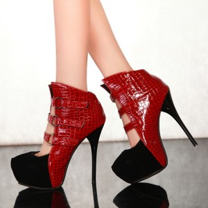Black and Red Platform Boots Vampire High Heel Shoes for Halloween