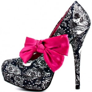 Women's Vampire Floral Heels Bow Platform Stiletto Heel Pumps for Halloween