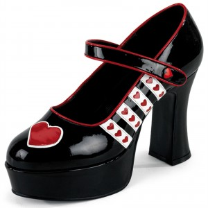 Harley Quinn Black Mary Jane Heart Chunky Heels Pumps for Halloween