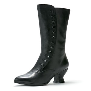 Women's Black Witch Costumes Halloween Button Mid-calf Spool Chunky Heel Boots