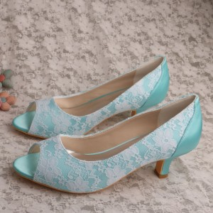 Cyan Wedding Shoes Lace Heels Peep Toe Kitten Heel Pumps