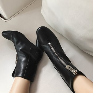 Black Heeled Boots Round Toe Front Zipper Chunky Heel Ankle Boots