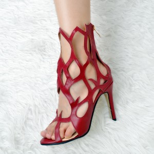 Women's Red Open Toe Hollow out  Stiletto Heel Sandals