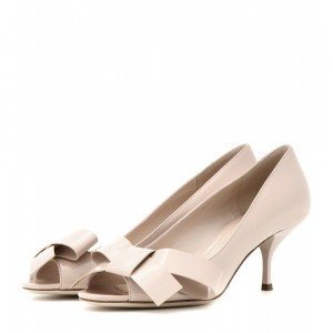 Women's Cute Beige Peep Toe Stiletto  Heels Pumps