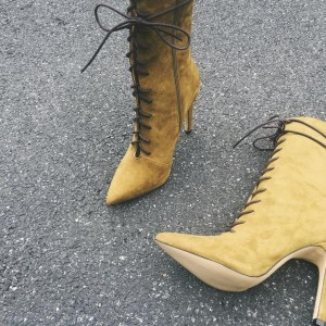 Mustard Lace up Boots Pointy Toe Suede Stiletto Heel Booties