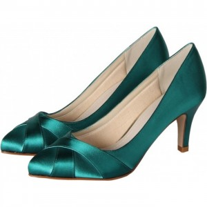 Green Pointed Toe 6 cm / 2 inch-Mid Height Heels Pumps Comfortable Shoes