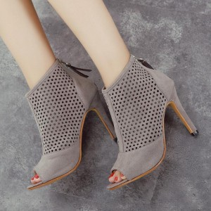 Grey Heeled Boots Hollow out Suede Stiletto Heel Ankle Booties
