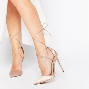 Women's Nude Strappy Heels Pointy Toe Stilettos Pumps