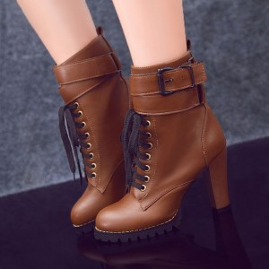 Tan Boots Lace up Round Toe Chunky Heel Ankle Boots