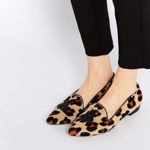 Women's Comfortable Suede Cute Leopard Print Flats Shoes