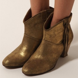 Matte Gold Western Boots Round Toe Chunky Heel Vintage Mid Calf Boots