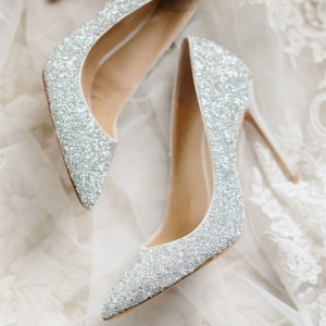 Women's Silver Pointed Toe Sequined Stiletto Heel Pumps Bridal Heels