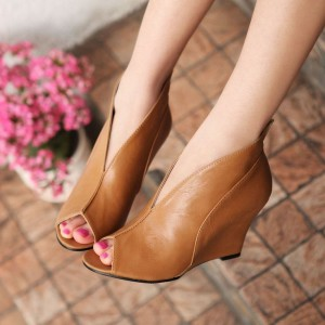 Tan Wedge Heels Peep Toe Low Cut uppers Vintage Pumps US Size 3-15