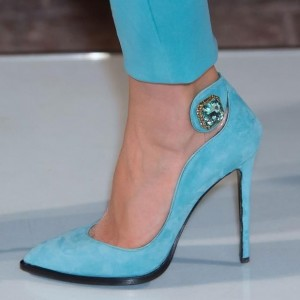 Light Blue Prom Shoes Suede Stiletto Heel Pumps with Rhinestone