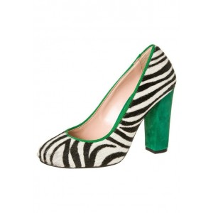 Women's Black And White Zebra Print Chunky Heels Pumps