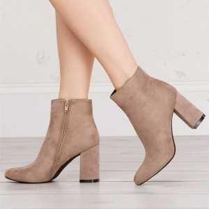 Women's Khaki Chunky Heel Boots Suede Almond Toe Ankle Boots