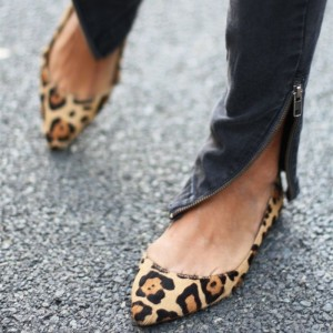 Women's Fashion Leopard Print Flats Comfortable Suede Pointy Toe Shoes