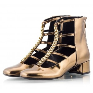 Women's Golden Fashion Boots Metal T strap Chunky Heels Ankle Boots