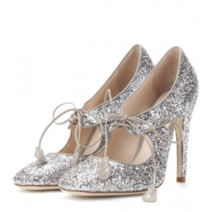 Silver Glitter Shoes Lace up Sparkly Stieltto Heel Pumps