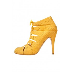 Women's Yellow Round Toe Stiletto Heels Rivets Lace Up  Ankle Boots
