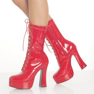 Red Stripper Shoes Patent Leather Mid-calf Lace up Boots for Women