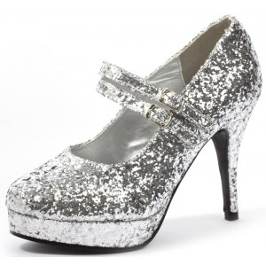 Women's Silver Stiletto Heel Platform Pumps Glitter Mary Jane Shoes