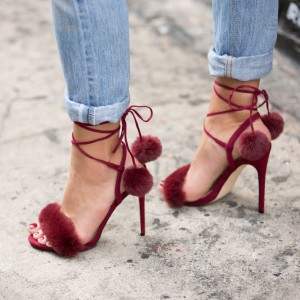 Burgundy Pom Pom Shoes Ankle Wrap Furry Heels Cute Strappy Sandals