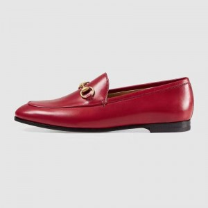 Red Round Toe Loafers for Women