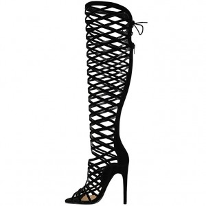Women's Black Strappy Knee-high Stiletto Gladiator Heels Sandals