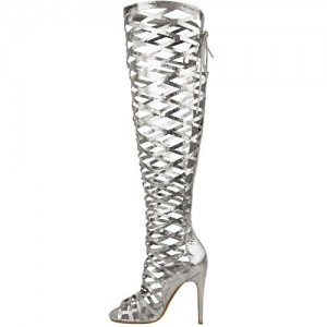 Silver Stiletto Heels Hollow Out Knee-high Gladiator Heels Sandals