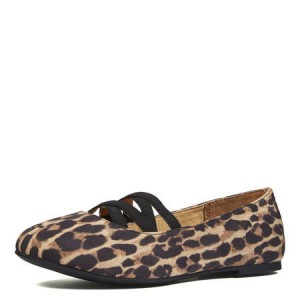 Women's Brown Round Toe Suede Leopard-print Flats