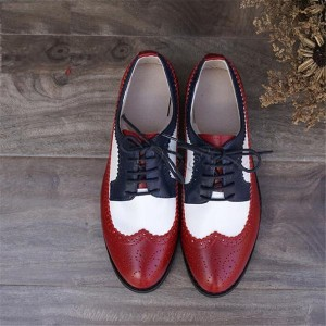 Red and White Women's Oxfords Lace-up Flats Brogues Vintage Shoes