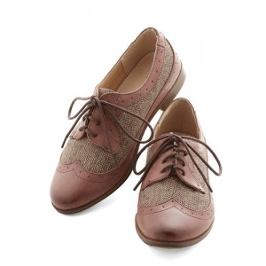 Old Pink Women's Oxfords Lace up Flat Brogues Vintage Shoes