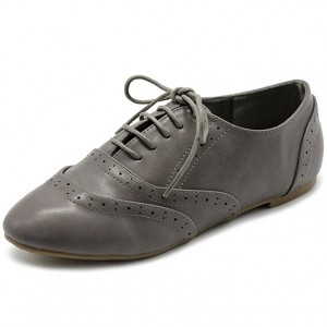 Grey Round Toe Wingtip Shoes Lace up Vintage Flat Women's Oxfords