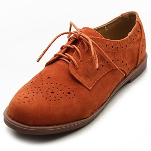 Orange Women's Oxfords Suede Comfortable Lace up Flats Vintage Shoes
