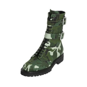 Camouflage Combat Boots Round Toe Lace up Mid-calf Boots