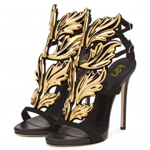 Black and Gold Evening Shoes Stiletto Heel Sandals Prom Shoes