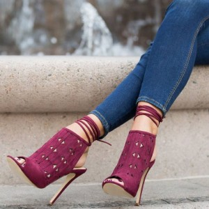 Women's Plum Slingback Hollow Out Strappy Stiletto Heels Summer Boots