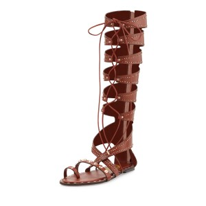 Tan Embellished Gladiator Sandals Lace-up Strappy Sandals