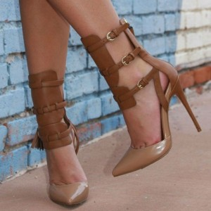 Women's Brown Buckle Strappy Heels Pointed Toe Stiletto Heels Shoes